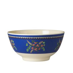 Melamine Bowl Two tone with Blue  Flower Print