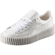 Puma PUMA BY RIHANNA WOMEN'S BASKET CREEPER GLO ($140) ❤ liked on Polyvore featuring shoes, sneakers, clothing - shoes, platform trainers, creeper sneakers, lacing sneakers, lace up sneakers and suede shoes