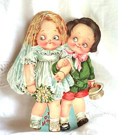 """1940's Valentines MECHANICAL CARD Large 10"""" Vintage GOOGLY EYEs Bride and Groom White Green Red Wedding Gift Card Something Old (24.88 USD) by FranciesFare"""
