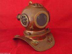 Vintage Rolex Submariner Divers Helmet Watch Display: Copper, Brass & Glass