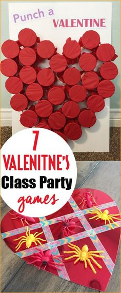 7 Valentine Class Party Ideas.  Valentine games and activities for kids.  Quick and easy Valentine school party games.  Love Bug Tic-Tac-Toe.
