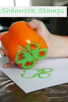 Bell pepper stamping for a St Patrick's day craft. Very fun process art for kids.