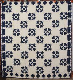 Indigo White Bear Paw Antique Quilt