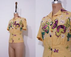 1940s yellow shirt / Vintage 40s butterfly pattern by Ainshent, $49.00