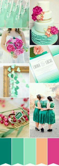 Pink Peach Green wedding colour scheme ideas for your Algarve summer or spring wedding. www.weddingplanneralgarve.com