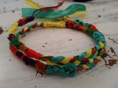 Easy embroidery thread and satin ribbon braided and knotted friendship bracelet