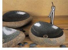polished and rough stone basins