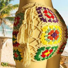 Granny Square Mini Skirt Boho Crochet With Lace Up Sides Tassel Ties F – Made4Walkin