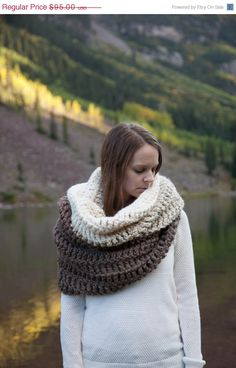 Ombré Extra Large Oversized Cowl Huge Chunky Shawl Hood by ozetta