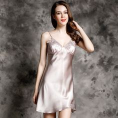 1b914232c69 D33176 Wholesale 00% Pure Silk Sexy Nightdress female Summer Camisole Women  Clothes 100%Silk