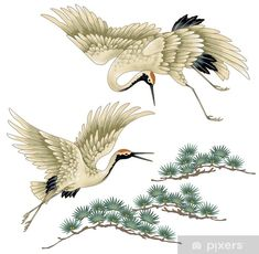 Illustration about I drew a crane in Japanese technique, I drew a Nipponian crane in a freehand drawing,. Illustration of asia, sketching, tradition - 42214602 Japanese Drawings, Bird Drawings, Japanese Prints, Japanese Tattoos, Japanese Painting, Chinese Painting, Chinese Art, Japanese Bird, Japanese Crane