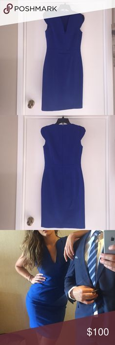 French Connection Cocktail Dress French connection royal blue cocktail dress. Worn three times, excellent condition. Dry cleaned after last time worn. Thick material with separate liner. Love this dress but looking to clean out my closet! French connection dresses run smaller, I typically wear a 4 but sized up. French Connection Dresses