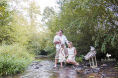 Blue Amber Family Photos by the creek  ©Blue Amber Photography, North Carolina