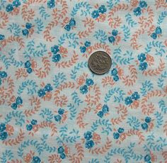 vintage feedsack fabric  BLUE & TAN FLORAL by NauvooQuiltCo, $5.00