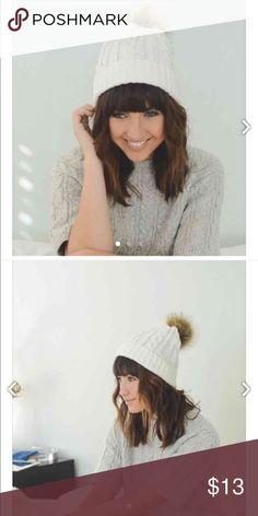 IVORY POM POM BEANIE, cute and comfy IVORY POM POM BEANIE, cute and comfy Accessories Hats
