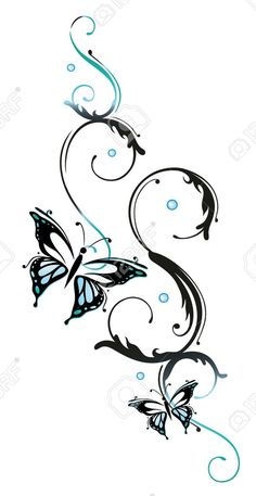 Blue flowers and butterflies, floral element