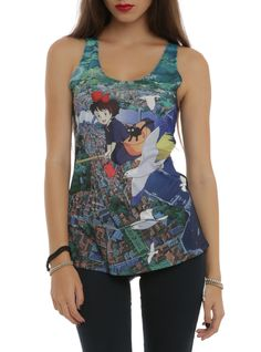 Studio Ghibli Her Universe Kiki's Delivery Service Flying Over City Girls Tank Top | Hot Topic