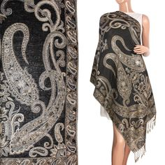 372805ad0ded Pashmina Metallic Paisley Jacquard Double-Sided Reversible Tassels Ends  Long Scarf Shawl - Various Colors