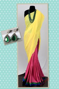 Sari with neon yellow palu and pink satin pleats, with woven green blouse