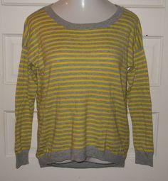 GAP Yellow Gray Stripe Boyfriends Sweater Small Drop Shoulder Nylon Wool  #GAP #Crewneck