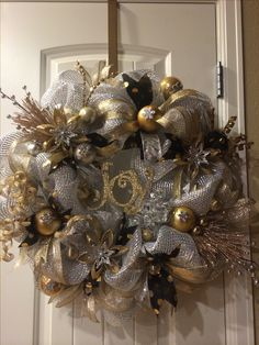 silver and gold holiday wreath gold christmas decorations christmas mesh wreaths holiday decor - Black And Gold Christmas Decorations