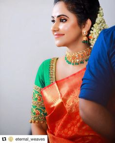 ornaments for saree Happy New Year Cotton Saree Blouse Designs, Saree Blouse Patterns, Bridal Blouse Designs, Beautiful Saree, Beautiful Outfits, Kanjivaram Sarees, Indian Designer Wear, Jewellery, Gold Jewelry