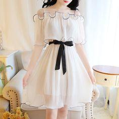 Chiffon Lace Ruffle Dress Source by kawaii Korean Fashion Dress, Korean Dress, Ulzzang Fashion, Harajuku Fashion, Lolita Fashion, Japanese Fashion, Asian Fashion, Fashion Dresses, Kawaii Dress