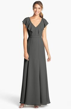 Jenny Yoo 'Cecilia' Ruffled V-Neck Chiffon Long Dress (Online Only) available at #Nordstrom