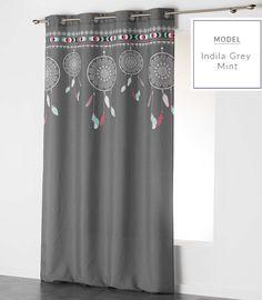 Šedé závěsy s lapačem snů Curtains, Shower, Grey, Model, Prints, Home Decor, Rain Shower Heads, Gray, Blinds