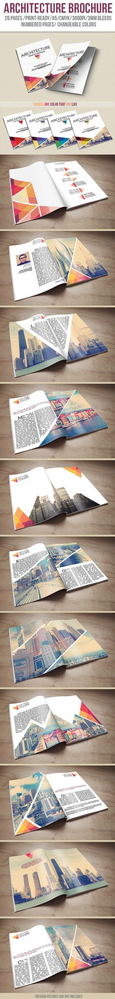 I like the the images are large and angled and fit together within the page, leaving room for text Architecture Portfolio Brochure by crew55design , via Behance