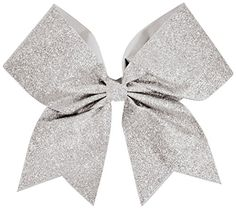 Glitter Performance Hair Bow Glitter White: wide ribbon/liliAll-over colored glitter design/liliComes with pony tail holder /liliManufactured by Chassé®/liliSize: x Cheerleading Bows, Cheer Bows, Glitter Hair, Glitter Hearts, Silver Glitter, Ribbon Hair Bows, Bow Hair Clips, Dog Bows, Baby Bows
