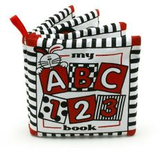 Baby's My First ABC Cloth Book by Genius Babies. $9.95. GB-018 It's never too early to start reading to baby! Baby's My First ABC - 1, 2, 3 soft cloth book by Genius Baby Toys in high contrast infant stimulation colors of black, white and red. Book includes 1, 2, 3's and A,B,C's. Features: -Includes rattle and squeaker. -Crinkle sound. -Textures. -Activities. -Loop for easy take along fun. -Birth and up.