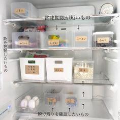 頑張らずにスッキリ見せる!〜使いやすい冷蔵庫収納を目指して〜|LIMIA (リミア) Bathroom Medicine Cabinet, Kitchen Dining, Organization, Cleaning, Storage, Refrigerator, Kitchens, Getting Organized, Purse Storage