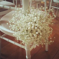 Gyp pew ends - tied with a thick pale pink ribbon Elegant Wedding, Rustic Wedding, Our Wedding, Dream Wedding, Wedding Ideas, Pew Ends, Gypsophila, Gray Weddings, Wedding Chairs