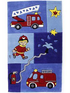 Tatütata Feuerwehr Handtuft Kinderteppich | Spielteppich