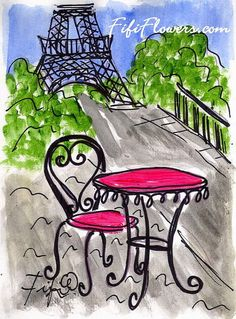 Pink Eiffel Cafe Table by Fifi Flowers on Etsy #Paris