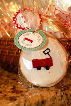 Red wagon cookie party favors