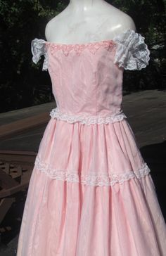 Lovely Pink LACE Ruffled SOUTHERN BELLE  Dress by BeauMondeVintage, $99.00
