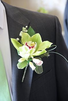 Flower Design Buttonhole & Corsage Blog: Grooms Green Orchid Boutonniere