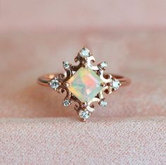 Fire Opal Ring Rose Gold Opal Ring Opal Diamond Ring Opal