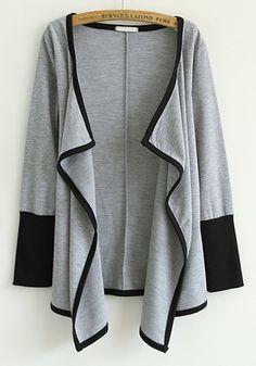 Comfy Grey Patchwork V-neck Long Sleeve Cotton Blend Cardigan #Comfy #Cozy #Fashion