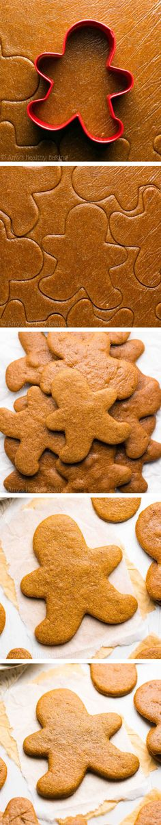 The Ultimate Healthy Gingerbread Cookies -- these skinny cookies don't taste healthy at all! Only 52 calories! You'll never need another gingerbread cookie recipe again! ( sub butter for Apple sauce ) Healthy Gingerbread Cookies, Healthy Christmas Cookies, Healthy Cookies, Healthy Sweets, Healthy Dessert Recipes, Holiday Cookies, Healthy Baking, Christmas Desserts, Cookie Recipes