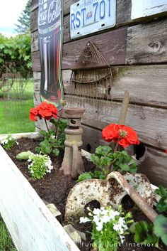 rusty garden tools leaning against a rustic shed as garden art, inside a flowerbed with red geraniums Rusty Garden, Garden Junk, Garden Tools, Funky Junk Interiors, Rustic Shed, Rustic Barn, The Ranch, Dream Garden, Garden Inspiration