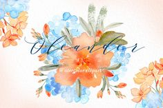Oleander. watercolor clipart by LABFcreations on @creativemarket