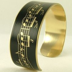 Love Music Slim Cuff  Sheet Music  Black Bracelet by JezebelCharms, $30.00
