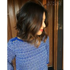 Long, slightly a-lined bob shown with loose curls and rich caramel balayage/ombre hand painted face framing pieces. #StyledByKate
