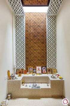 These pooja mandir for home designs are modern with serene interiors. Designed in wood, glass and gorgeously styled, you will be inspired! Pooja Room Door Design, Bedroom Door Design, Home Room Design, House Design, Jaali Design, Temple Design For Home, Mandir Design, Washbasin Design, Puja Room