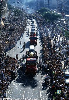 The funeral procession of Formula 1 Champion Ayrton Senna, an estimated 3 million people lined the streets making it one of the largest recorded gathering of mourners in modern times. 1994