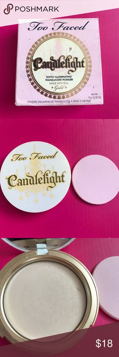 1 HOUR SALE Candlelight Softly Illuminating Powder TOO FACED illuminating translucent powder. Pressed. Made with real gold!  Net wt 9 g/0.32 ounces practically new! 90% of product left. No brush, but 100% clean/never used pad. FYI the box has make up on it, does not look new but inside is clean! SOLD OUT! Too Faced Makeup