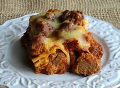 Meat Ball Lasagna Recipe ~ Just A Pinch Blue Ribbon Award Recipe